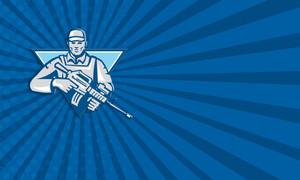 Mercenary Soldier Assault Rifle Retro