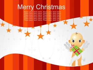 Merry Christmas Background With Cupid