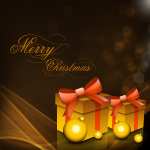 Merry Christmas Background With Gift Boxes Wrapped With Ribbon And Golden Eve Balls On Shiny Background.