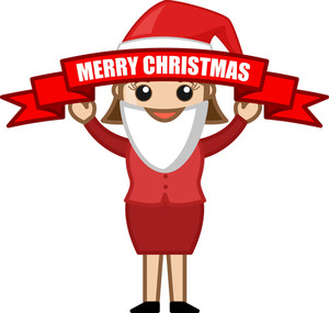 Merry Christmas - Banner - Cartoon Business Characters