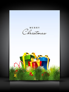 Merry Christmas Card Or Background With Gift Boxes.