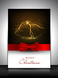 Merry Christmas Gift Card Or Greeting Card Decorated With Shiny Jingle Bells And Red Ribbon.