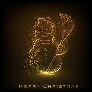 Merry Christmas Greeting Card Or Background With Shiny Snow Man Image.