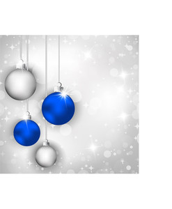 Merry Christmas Greeting Card With Blue And Silver Christmas Balls.