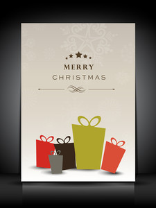 Merry Christmas Greeting Or Gift Card With Decorative Eve Balls.
