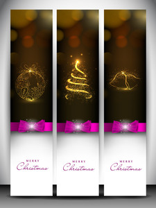 Merry Christmas Website Header And Banner With Xmas Ball, Xmas Tree And Jingle Bell