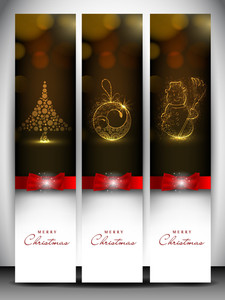 Merry Christmas Website Header And Banner With Xmas Tree, Snowman And Xmas Ball