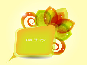 Message Box With Abstract Floral Design.