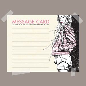 Message Card With Fashion Girl Fixed With Sticky Tape. Vector Illustration.