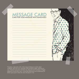 Message Card With Stylish Dude Fixed With Sticky Tape. Vector Illustration.