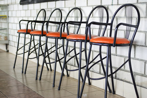 Metal chairs at coffee shop caf�