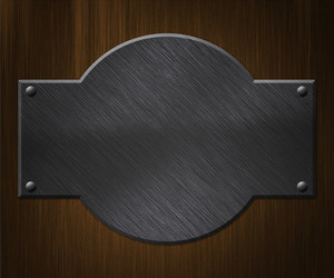 Metal Plate On Wood Background