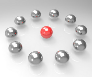 Metal Spheres Showing Leadership Or Seminar
