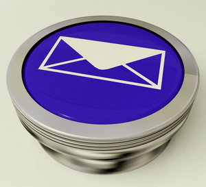 Metallic Email Icon Button For Sending Message Over Internet