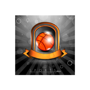 Metallic Glossy Winning Shield Of Basket Ball With Orange Ribbon On Glossy Stage.