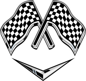 Metallic Racing Checkered Flag Crossed