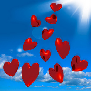 Metallic Red Hearts Falling From The Sky Showing Love And Romance
