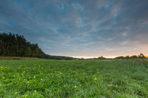Beautiful sunrise over misty meadow. Cloudy sky with many colors over morning meadow in summer.--