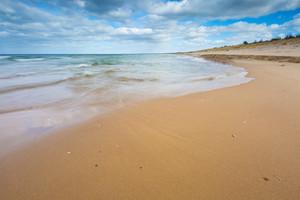 Baltic shore. Beautiful dramatic weather seascape of polish shore of Baltic sea.