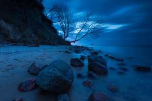 Baltic shore near Gdynia. Beautiful dramatic weather seascape of polish shore of Baltic sea photographed at night.