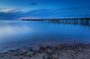 Beautiful pier in Gdynia poland. Seascape with wooden molo in Orlowo. Landscape photographed before sunrise