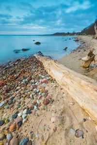 Beautiful seascape of Baltic Sea shore in Poland. Beautiful place for a walk