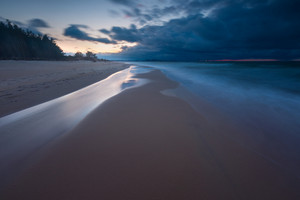 Baltic shore. Beautiful dramatic weather seascape of polish shore of Baltic sea.