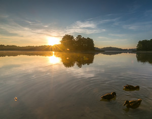 Beautiful sunrise over mysty lake. Lake in Warmia and Mazury lake district in Poland. Summer calm weather