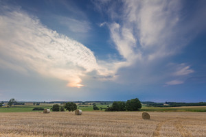Stubble field with straw bales. Beautiful summertime rural landscape photographed in Poland.