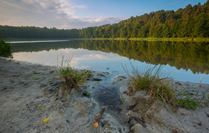 Beautiful lake landscape with nice light. Natural landscape of lake in Poland