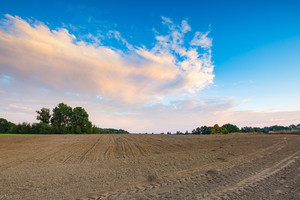 Beautiful plowed field under colorful sunset sky. Polish rural landscape