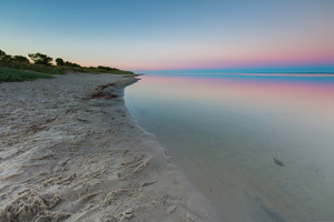 Beautiful beach before sunrise. Landscape of gdanska bay photographed on Jastarnia in Poland