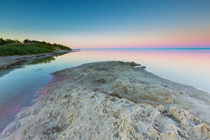 Beautiful seascape of Bay before sunrise. Calm place in Jastarnia in Poland