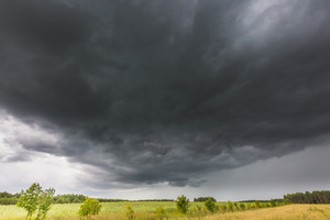 Summer landscape with storm sky over rye field. Frightening dark sky of thunderstorm over land