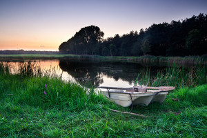 Peaceful Lake from Mazury Lake district photographed at Sunset