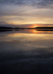 Beautiful calm lake with reflections in water photographed in sunset light