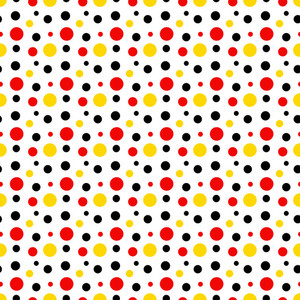 Mickey Mouse Pattern Of Red, Black And Yellow Polka Dots On A White Background