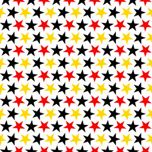 Mickey Mouse Pattern Of Red, Black, And Yellow Stars On A White Background