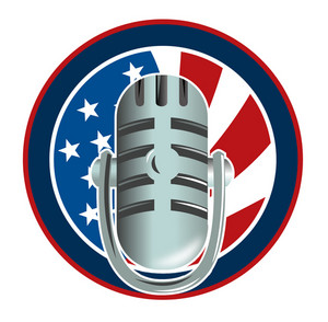 Microphone With American Stars And Stripes Flag