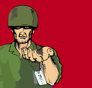 Military Man Holding Dog Tag
