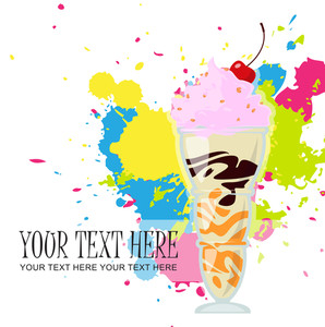 Milkshake With Cherry On A Withe Background With Blots. Vector Illustration.