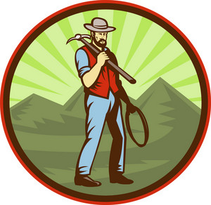 Miner Carrying Pick Axe With Mountains