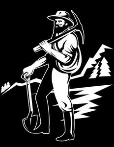 Miner With With Pick Axe And Shovel