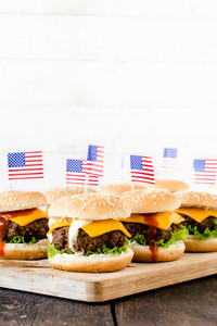 Mini Beef Burgers With American Flags