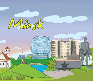 Minsk Doodles Vector Illustration