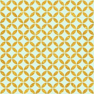 Mint Blue And Gold Glitter Circles Pattern