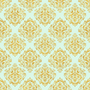 Mint Blue And Gold Glitter Decorative Pattern