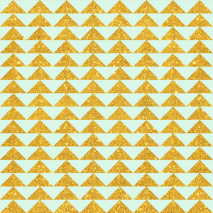 Mint Blue And Gold Glitter Triangles Pattern