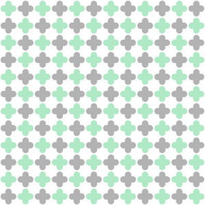 Mint Blue And Grey Quatrefoil Pattern