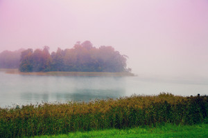 Misty morning. mist over lake.